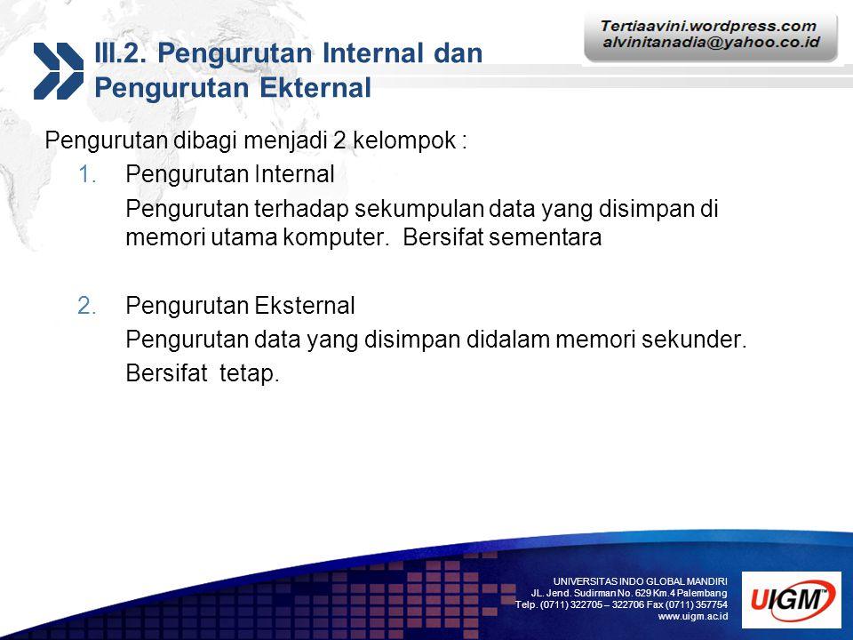 Add your company slogan LOGO III.2. Pengurutan Internal dan Pengurutan Ekternal Pengurutan dibagi menjadi 2 kelompok : 1.Pengurutan Internal Penguruta
