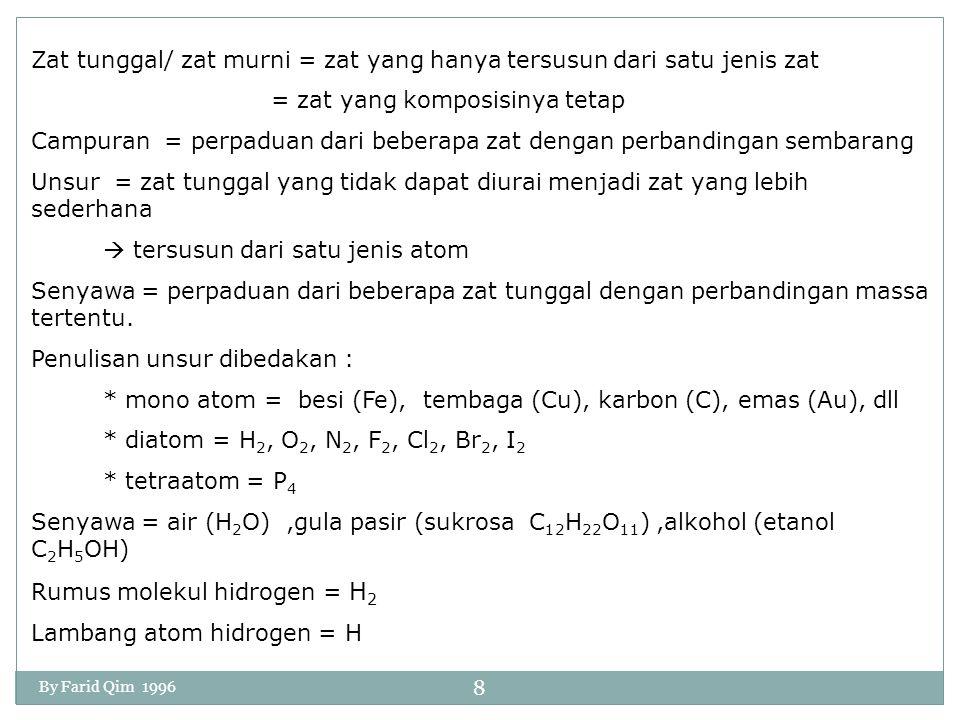 SUSUNAN MATERI MATERI ZAT TUNGGAL (Materi yang mempunyai komposisi tetap) Contoh: air, gula, garam, arang, oksigen, besi dll CAMPURAN Contoh: tanah, air sungai, udara dll ZAT Tunggal tersusun dari unsur dan senyawa ZAT TUNGGAL UNSUR = zat yang paling mendasar dan sebagai penyusun segala macam senyawa.