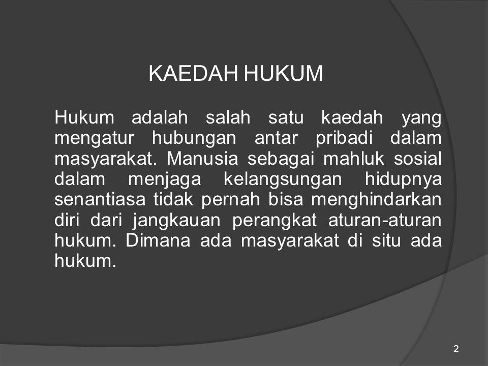 13 4.Perumusan Kaedah Hukum Kaedah hukum sebagai bagian dari tata kaedah yang mengatur aspek hidup antar pribadi bertujuan untuk mencapai kedamaian hidup bersama.