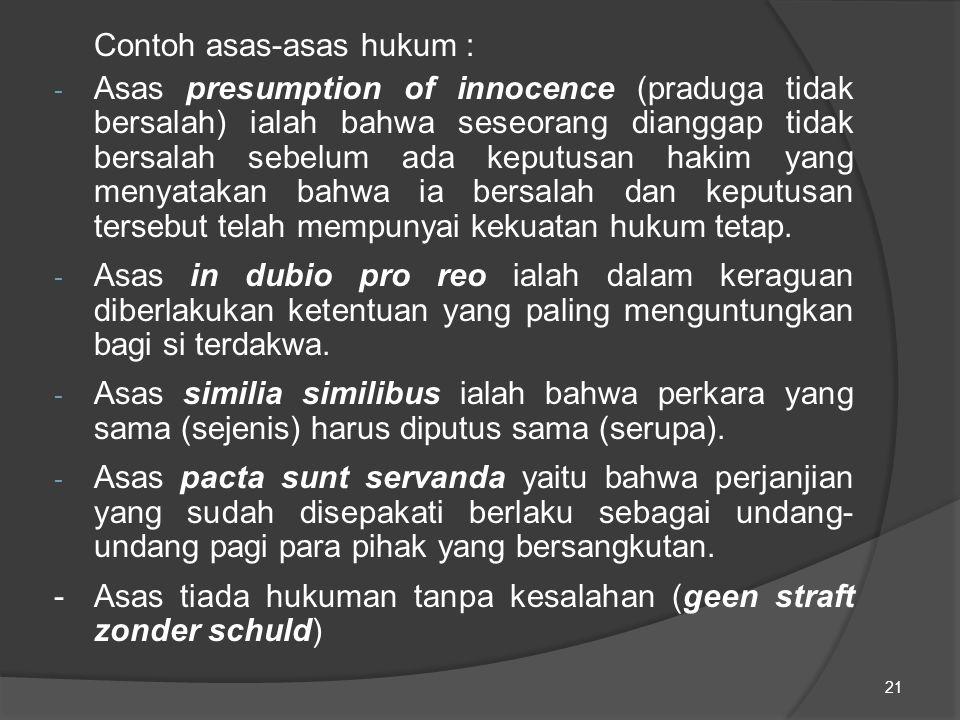 Contoh asas-asas hukum : - Asas presumption of innocence (praduga tidak bersalah) ialah bahwa seseorang dianggap tidak bersalah sebelum ada keputusan