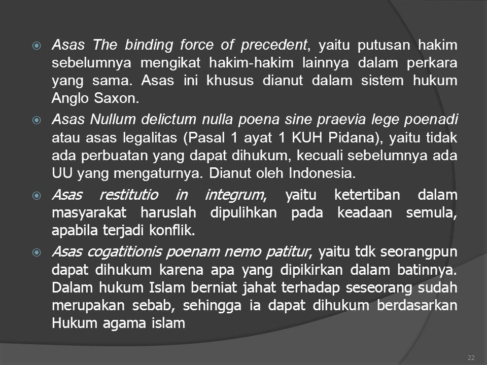 22  Asas The binding force of precedent, yaitu putusan hakim sebelumnya mengikat hakim-hakim lainnya dalam perkara yang sama. Asas ini khusus dianut