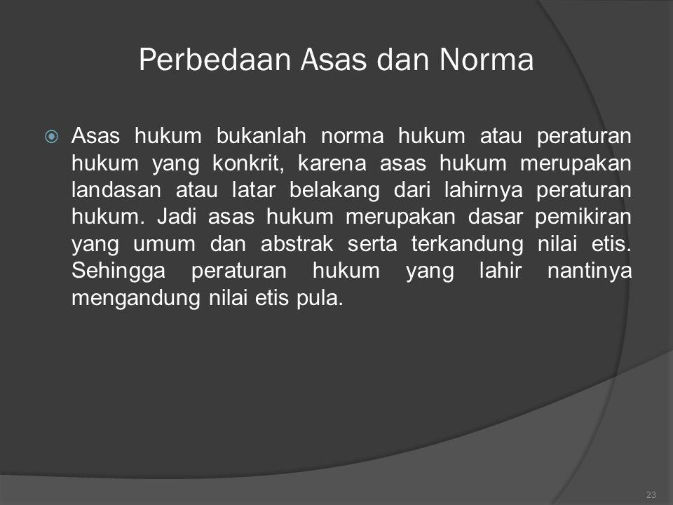 23 Perbedaan Asas dan Norma  Asas hukum bukanlah norma hukum atau peraturan hukum yang konkrit, karena asas hukum merupakan landasan atau latar belak