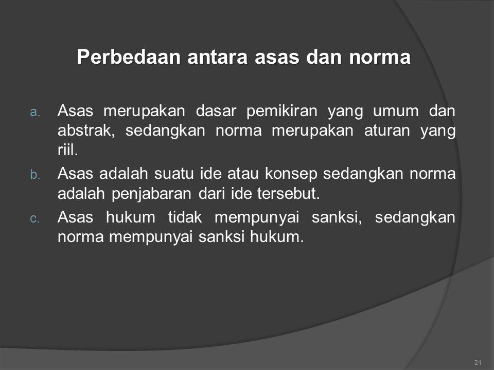 24 Perbedaan antara asas dan norma a. Asas merupakan dasar pemikiran yang umum dan abstrak, sedangkan norma merupakan aturan yang riil. b. Asas adalah