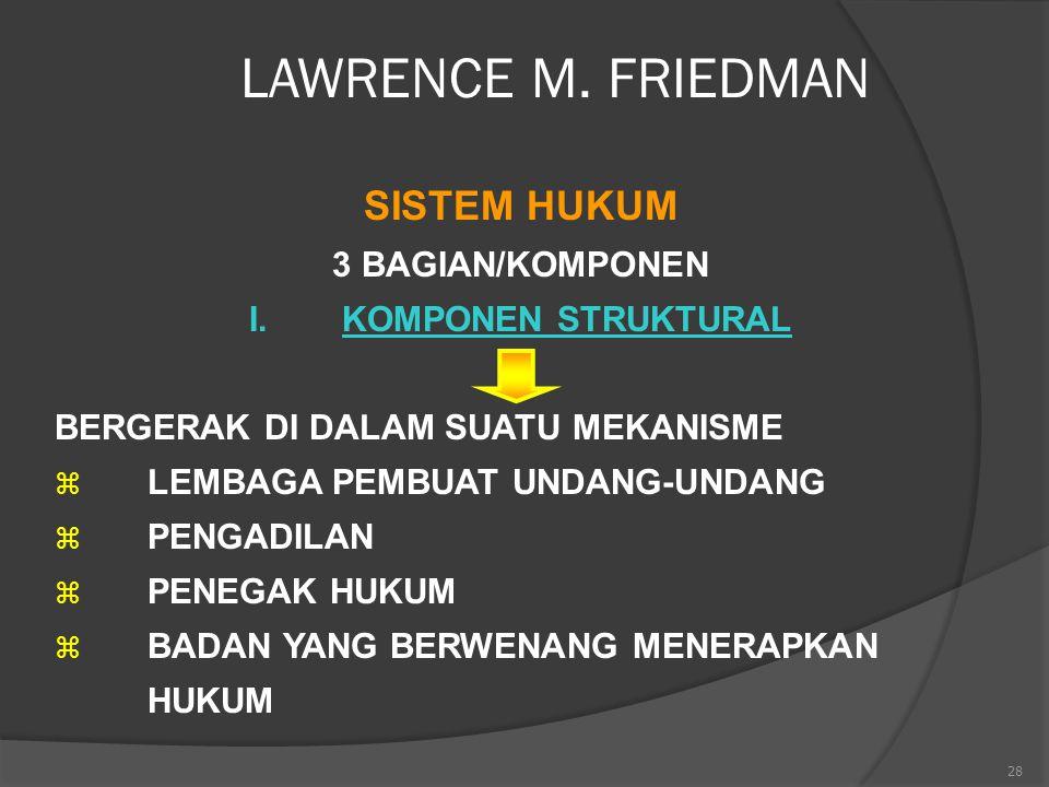 28 LAWRENCE M. FRIEDMAN SISTEM HUKUM 3 BAGIAN/KOMPONEN I.KOMPONEN STRUKTURAL BERGERAK DI DALAM SUATU MEKANISME  LEMBAGA PEMBUAT UNDANG-UNDANG  PENGA