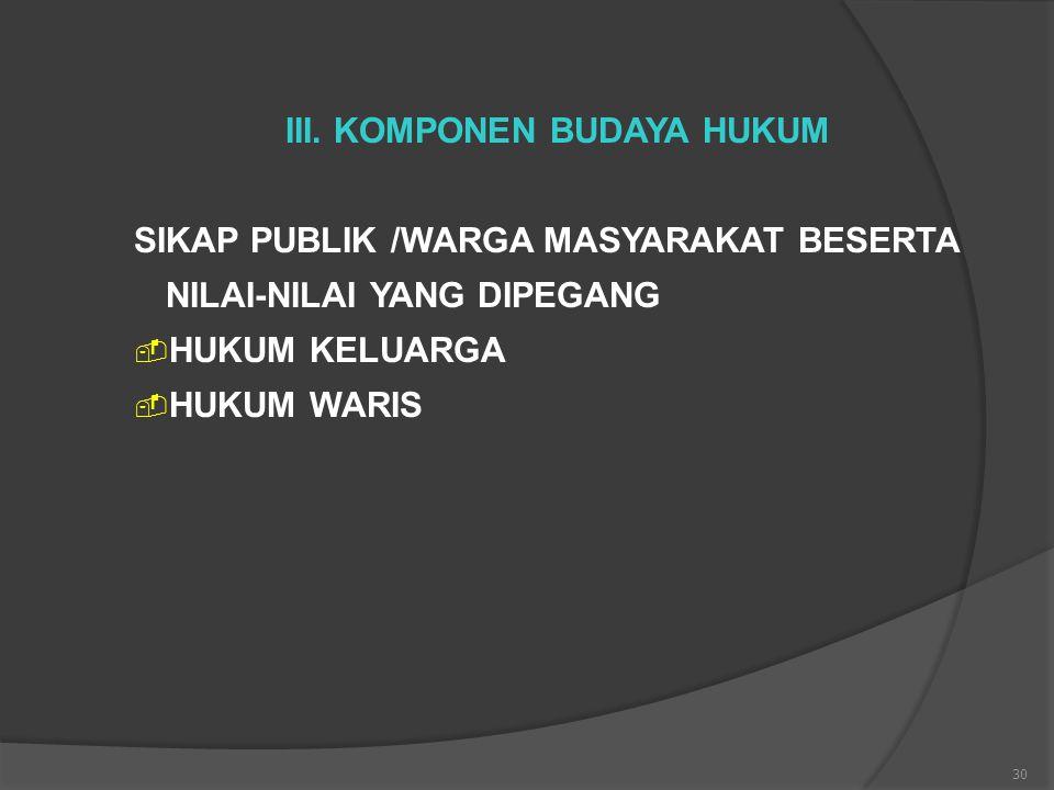 30 III. KOMPONEN BUDAYA HUKUM SIKAP PUBLIK /WARGA MASYARAKAT BESERTA NILAI-NILAI YANG DIPEGANG  HUKUM KELUARGA  HUKUM WARIS