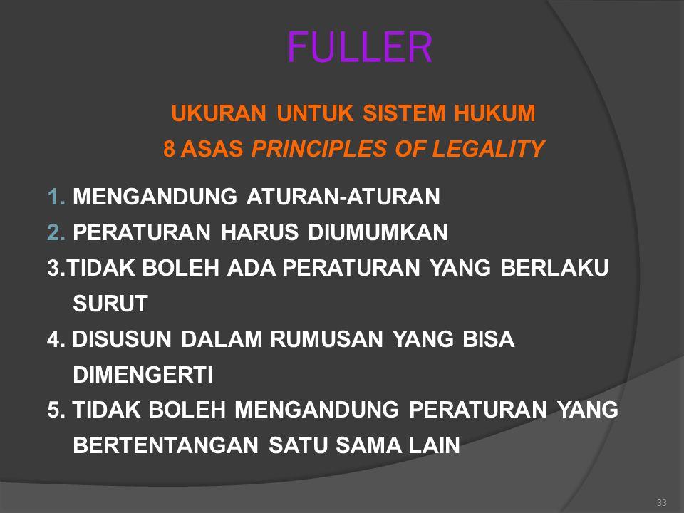 33 FULLER UKURAN UNTUK SISTEM HUKUM 8 ASAS PRINCIPLES OF LEGALITY 1.MENGANDUNG ATURAN-ATURAN 2.PERATURAN HARUS DIUMUMKAN 3.TIDAK BOLEH ADA PERATURAN Y