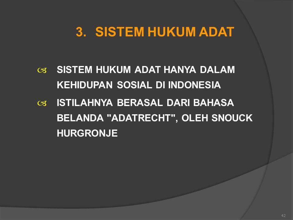 42 3.SISTEM HUKUM ADAT  SISTEM HUKUM ADAT HANYA DALAM KEHIDUPAN SOSIAL DI INDONESIA  ISTILAHNYA BERASAL DARI BAHASA BELANDA