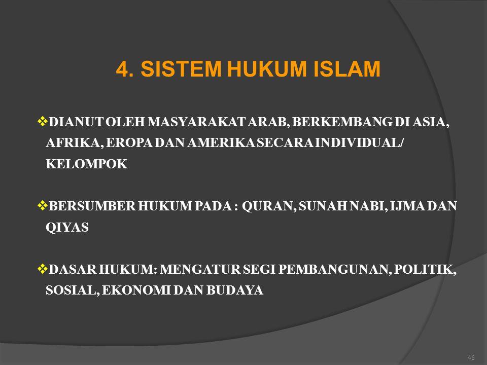46 4. SISTEM HUKUM ISLAM  DIANUT OLEH MASYARAKAT ARAB, BERKEMBANG DI ASIA, AFRIKA, EROPA DAN AMERIKA SECARA INDIVIDUAL/ KELOMPOK  BERSUMBER HUKUM PA