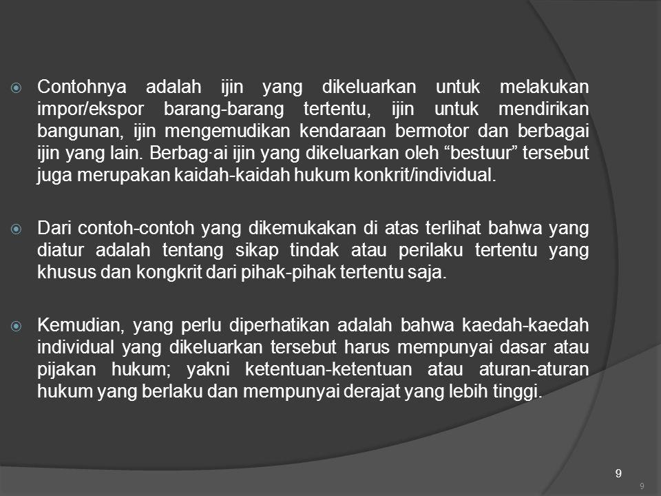 9  Contohnya adalah ijin yang dikeluarkan untuk melakukan impor/ekspor barang-barang tertentu, ijin untuk mendirikan bangunan, ijin mengemudikan kend
