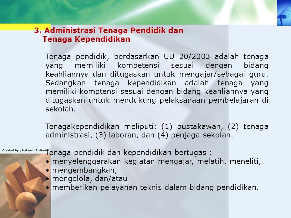 3. Administrasi Tenaga Pendidik dan Tenaga Kependidikan Tenaga pendidik, berdasarkan UU 20/2003 adalah tenaga yang memiliki kompetensi sesuai dengan b