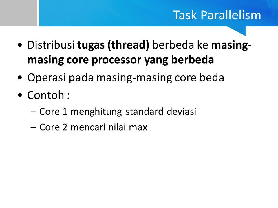Task Parallelism Distribusi tugas (thread) berbeda ke masing- masing core processor yang berbeda Operasi pada masing-masing core beda Contoh : –Core 1