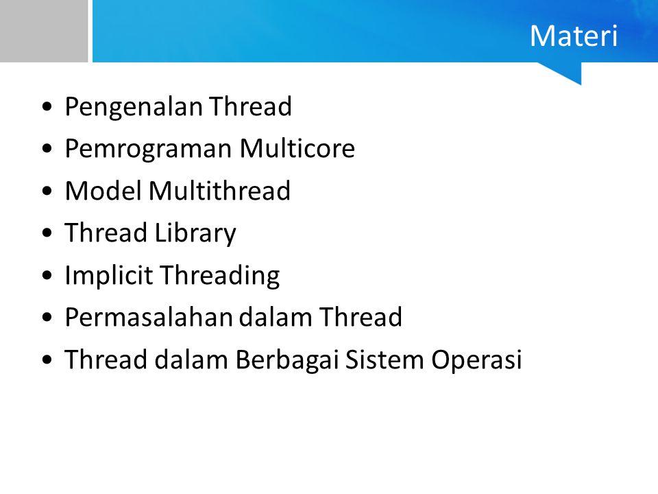 Model Many-to-Many Beberapa user-thread dipetakan ke beberapa kernel-thread (multiplexing) Jumlah kernel-thread yang dibuat bergantung aplikasi dan spesifikasi mesin Kelebihan : –Satu thread blocking tidak akan berpengaruh ke thread lain –Tidak ada batasan jumlah user-thread