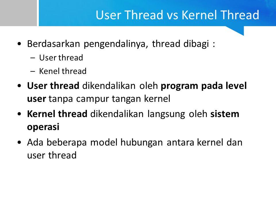 User Thread vs Kernel Thread Berdasarkan pengendalinya, thread dibagi : –User thread –Kenel thread User thread dikendalikan oleh program pada level us