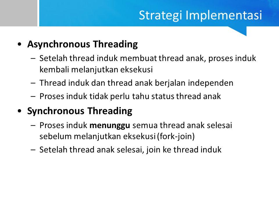 Strategi Implementasi Asynchronous Threading –Setelah thread induk membuat thread anak, proses induk kembali melanjutkan eksekusi –Thread induk dan th