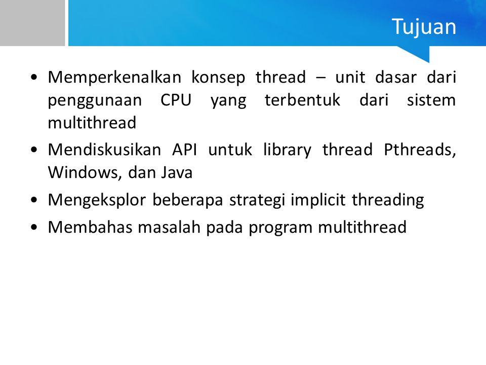 Tujuan Memperkenalkan konsep thread – unit dasar dari penggunaan CPU yang terbentuk dari sistem multithread Mendiskusikan API untuk library thread Pth