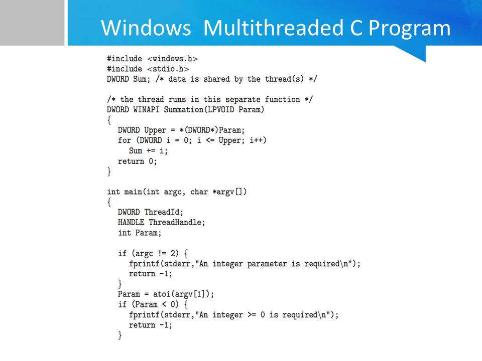 Windows Multithreaded C Program