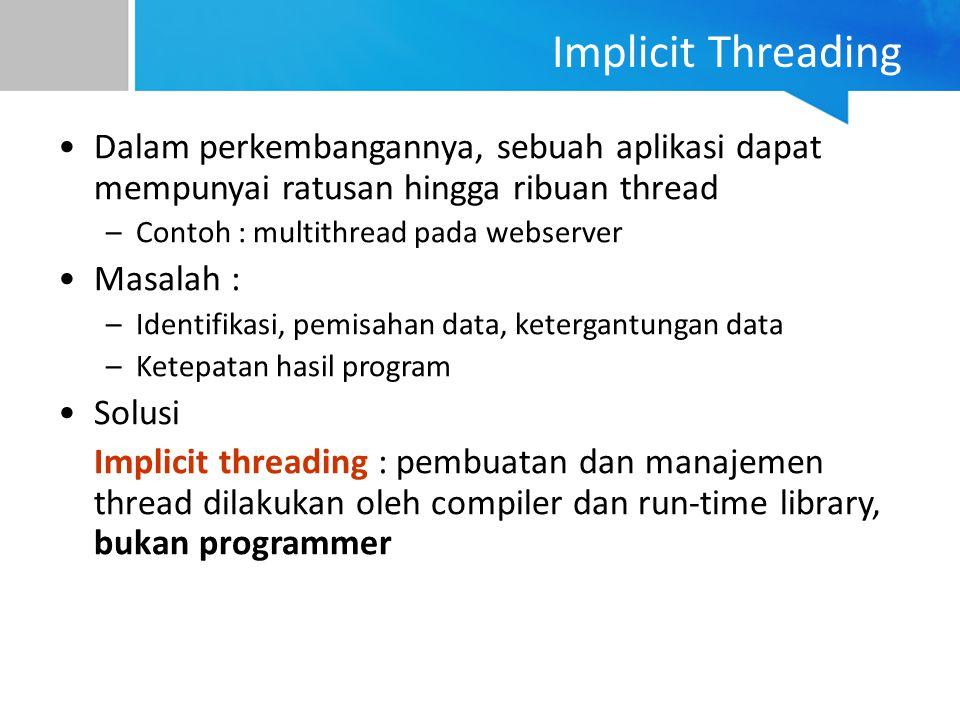 Dalam perkembangannya, sebuah aplikasi dapat mempunyai ratusan hingga ribuan thread –Contoh : multithread pada webserver Masalah : –Identifikasi, pemi