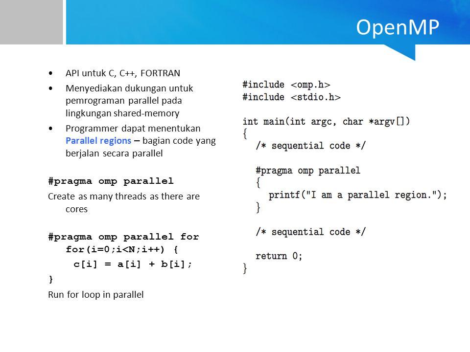 OpenMP API untuk C, C++, FORTRAN Menyediakan dukungan untuk pemrograman parallel pada lingkungan shared-memory Programmer dapat menentukan Parallel re