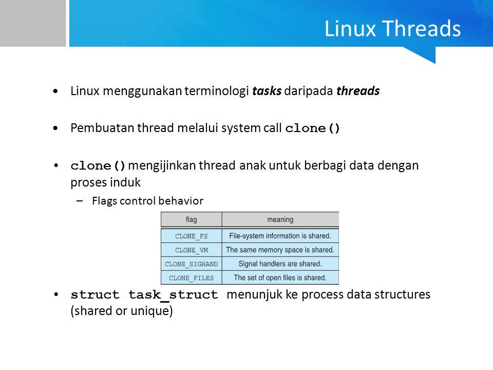 Linux Threads Linux menggunakan terminologi tasks daripada threads Pembuatan thread melalui system call clone() clone() mengijinkan thread anak untuk