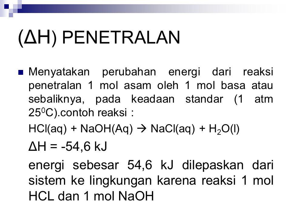 (ΔH ) PENETRALAN Menyatakan perubahan energi dari reaksi penetralan 1 mol asam oleh 1 mol basa atau sebaliknya, pada keadaan standar (1 atm 25 0 C).contoh reaksi : HCl(aq) + NaOH(Aq)  NaCl(aq) + H 2 O(l) ΔH = -54,6 kJ energi sebesar 54,6 kJ dilepaskan dari sistem ke lingkungan karena reaksi 1 mol HCL dan 1 mol NaOH
