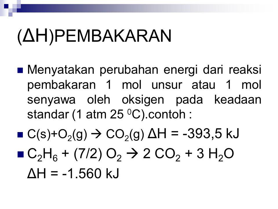 ( ΔH )PEMBAKARAN Menyatakan perubahan energi dari reaksi pembakaran 1 mol unsur atau 1 mol senyawa oleh oksigen pada keadaan standar (1 atm 25 0 C).contoh : C(s)+O 2 (g)  CO 2 (g) ΔH = -393,5 kJ C 2 H 6 + (7/2) O 2  2 CO 2 + 3 H 2 O ΔH = -1.560 kJ