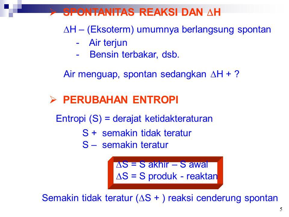  SPONTANITAS REAKSI DAN  H  H – (Eksoterm) umumnya berlangsung spontan - Air terjun - Bensin terbakar, dsb. Air menguap, spontan sedangkan  H + ?