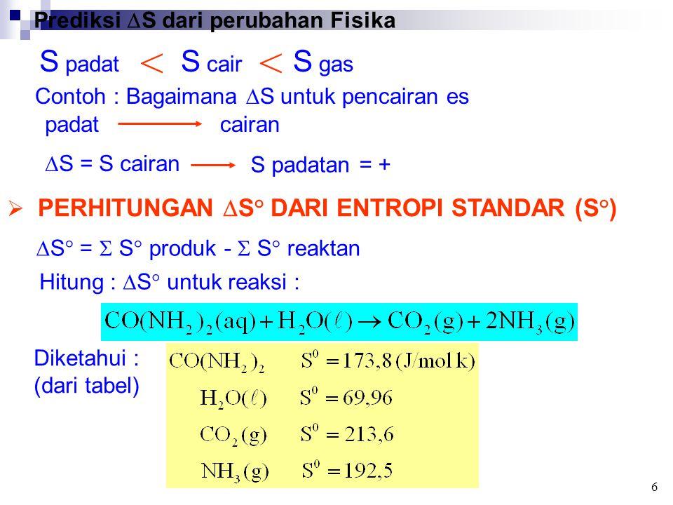 Prediksi  S dari perubahan Fisika S padat S cair S gas << Contoh : Bagaimana  S untuk pencairan es padatcairan  S = S cairan S padatan = + 6  PERHITUNGAN  S° DARI ENTROPI STANDAR (S°)  S° =  S° produk -  S° reaktan Hitung :  S° untuk reaksi : Diketahui : (dari tabel)