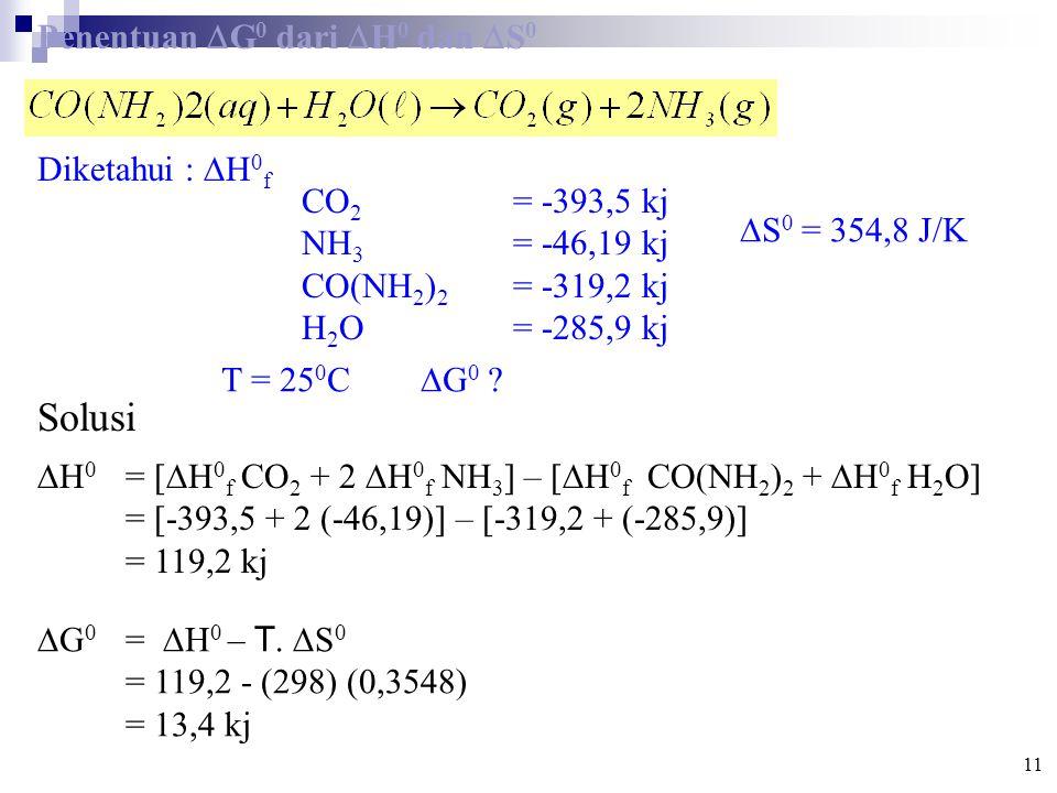 Penentuan  G 0 dari  H 0 dan  S 0 Diketahui :  H 0 f CO 2 = -393,5 kj NH 3 = -46,19 kj CO(NH 2 ) 2 = -319,2 kj H 2 O = -285,9 kj T = 25 0 C  G 0 .