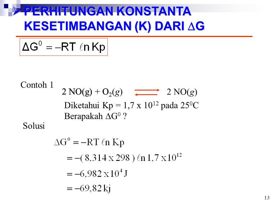  PERHITUNGAN KONSTANTA KESETIMBANGAN (K) DARI  G Contoh 1 2 NO(g) + O 2 2 NO(g) Diketahui Kp = 1,7 x 10 12 pada 25 0 C Berapakah  G 0 ? Solusi 2 NO