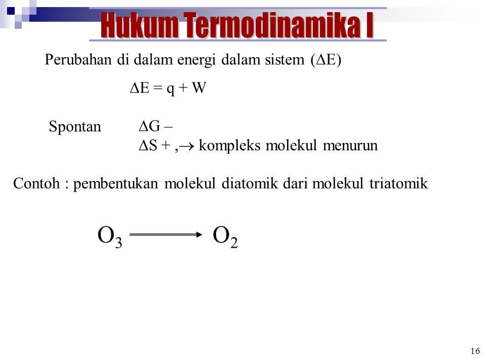 Perubahan di dalam energi dalam sistem (  E)  E = q + W Spontan  G –  S +,  kompleks molekul menurun Contoh : pembentukan molekul diatomik dari molekul triatomik O3O3 O2O2 16