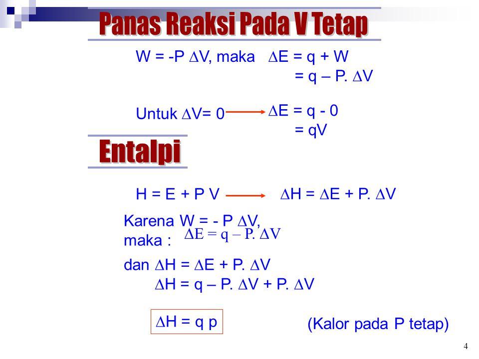 W = -P  V, maka  E = q + W = q – P.  V Untuk  V= 0  E = q - 0 = qV H = E + P V  H =  E + P.  V Karena W = - P  V, maka :  E = q – P.  V dan