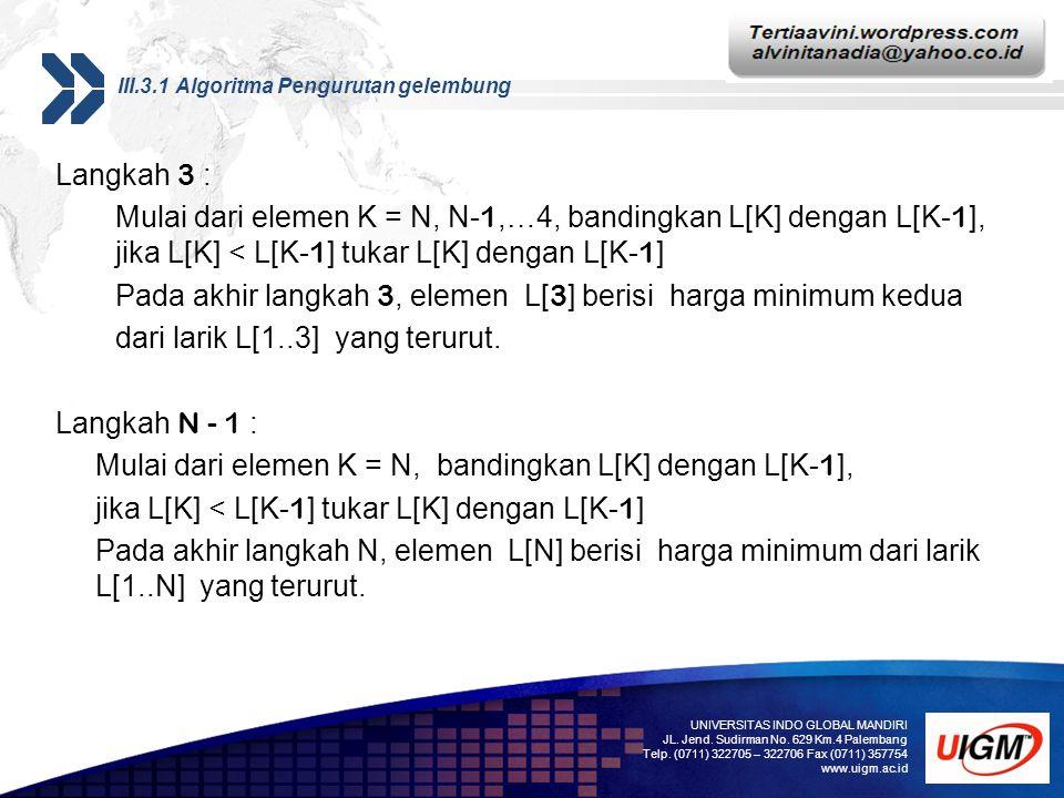Add your company slogan LOGO III.3.1 Algoritma Pengurutan gelembung Langkah 3 : Mulai dari elemen K = N, N- 1,…4, bandingkan L[K] dengan L[K- 1 ], jika L[K] < L[K- 1 ] tukar L[K] dengan L[K- 1 ] Pada akhir langkah 3, elemen L[ 3 ] berisi harga minimum kedua dari larik L[1..3] yang terurut.