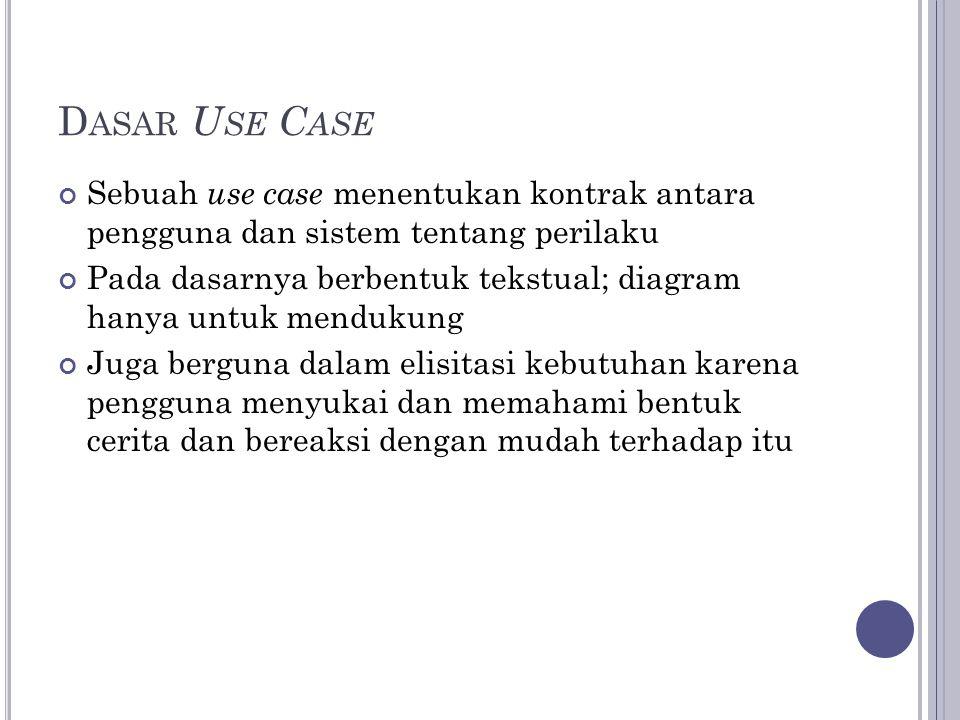 D ASAR U SE C ASE Sebuah use case menentukan kontrak antara pengguna dan sistem tentang perilaku Pada dasarnya berbentuk tekstual; diagram hanya untuk