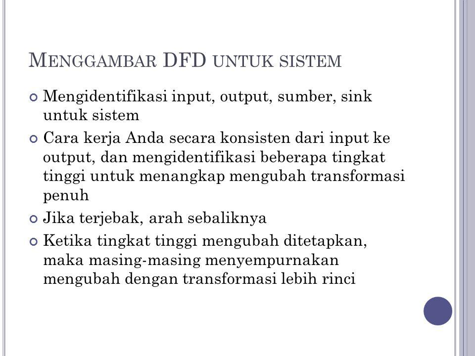 M ENGGAMBAR DFD UNTUK SISTEM Mengidentifikasi input, output, sumber, sink untuk sistem Cara kerja Anda secara konsisten dari input ke output, dan meng