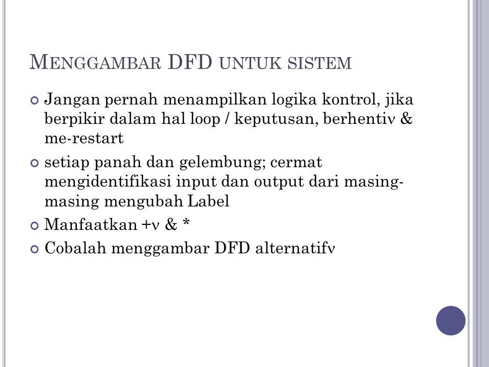 M ENGGAMBAR DFD UNTUK SISTEM Jangan pernah menampilkan logika kontrol, jika berpikir dalam hal loop / keputusan, berhenti & me-restart setiap panah dan gelembung; cermat mengidentifikasi input dan output dari masing- masing mengubah Label Manfaatkan + & * Cobalah menggambar DFD alternatif