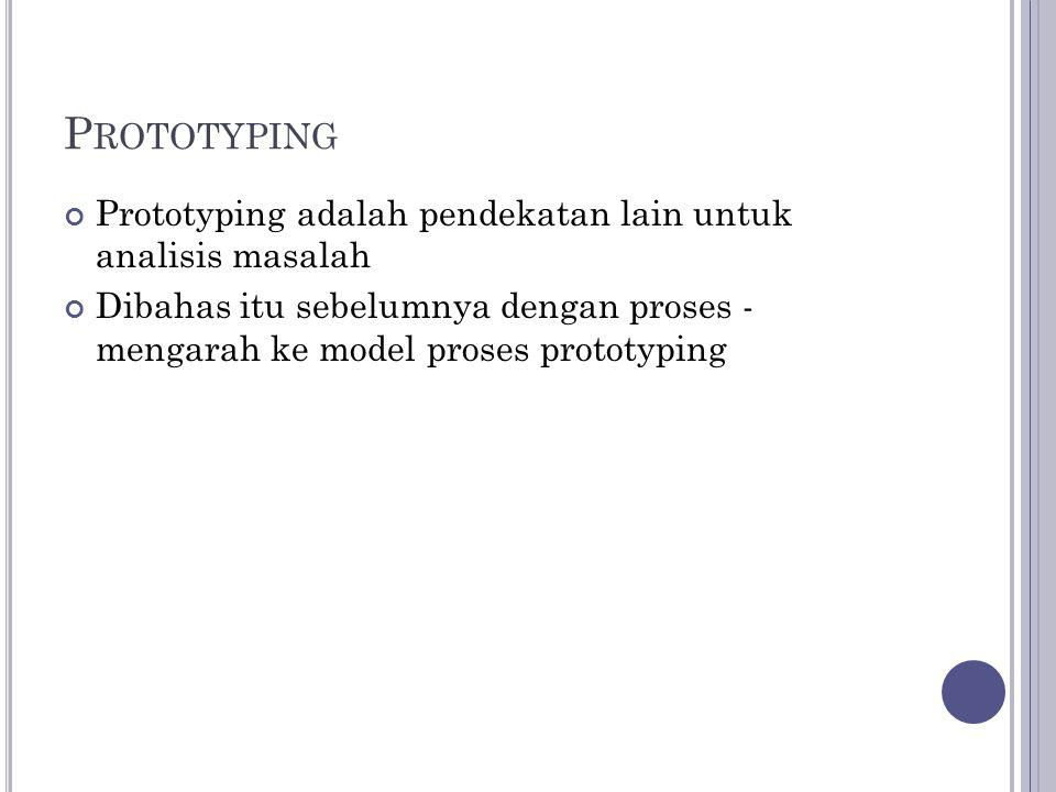 P ROTOTYPING Prototyping adalah pendekatan lain untuk analisis masalah Dibahas itu sebelumnya dengan proses - mengarah ke model proses prototyping