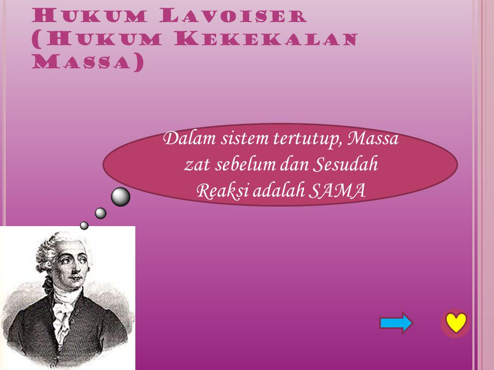 Lavoiser mereaksikan merkuri cair dengan oksigen sehingga membentuk merkuri oksida yang berwarna merah.