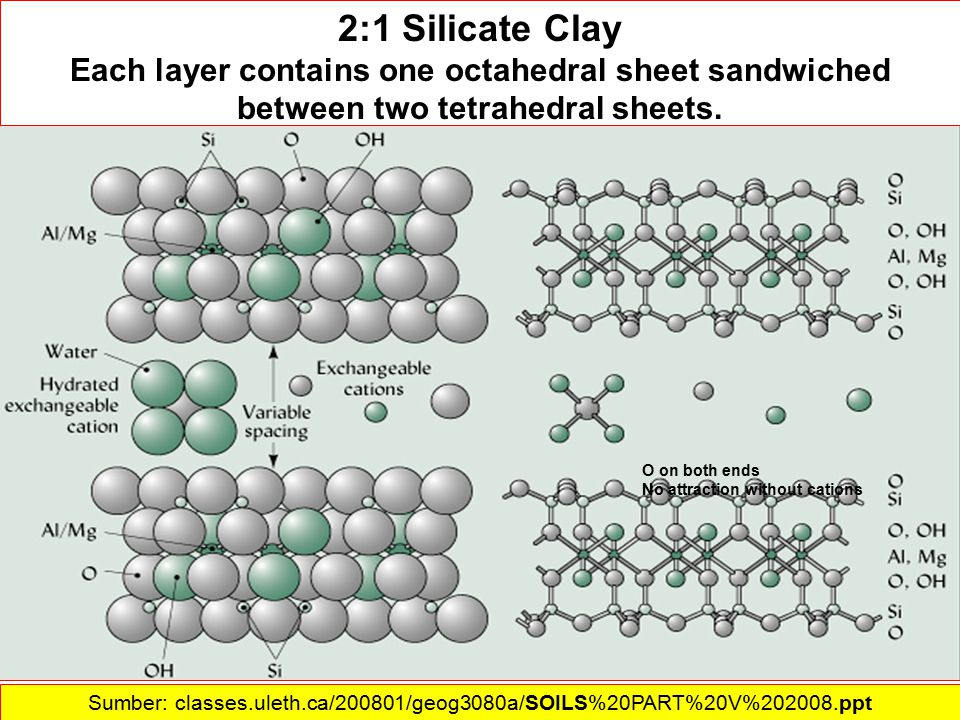 2:1 Silicate Clay Each layer contains one octahedral sheet sandwiched between two tetrahedral sheets.