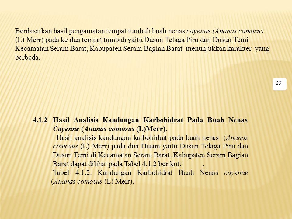 Berdasarkan hasil pengamatan tempat tumbuh buah nenas cayenne (Ananas comosus (L) Merr) pada ke dua tempat tumbuh yaitu Dusun Telaga Piru dan Dusun Te