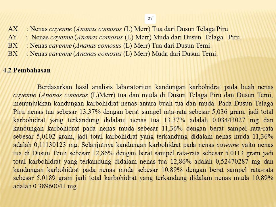 27 AX : Nenas cayenne (Ananas comosus (L) Merr) Tua dari Dusun Telaga Piru AY : Nenas cayenne (Ananas comosus (L) Merr) Muda dari Dusun Telaga Piru. B
