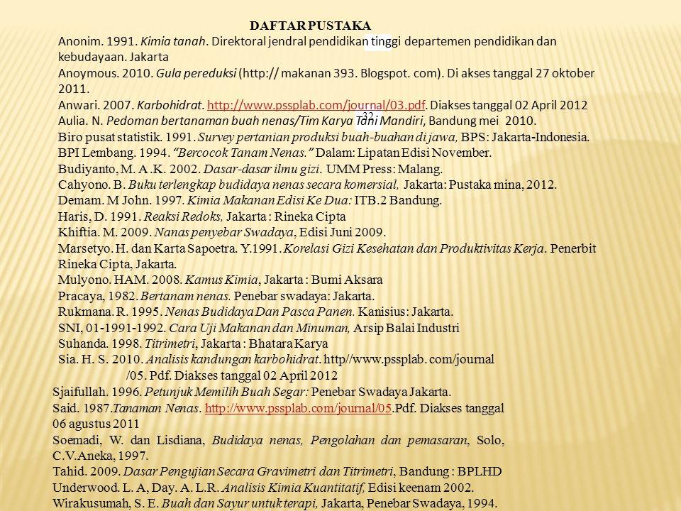32 DAFTAR PUSTAKA Anonim. 1991. Kimia tanah. Direktoral jendral pendidikan tinggi departemen pendidikan dan kebudayaan. Jakarta Anoymous. 2010. Gula p