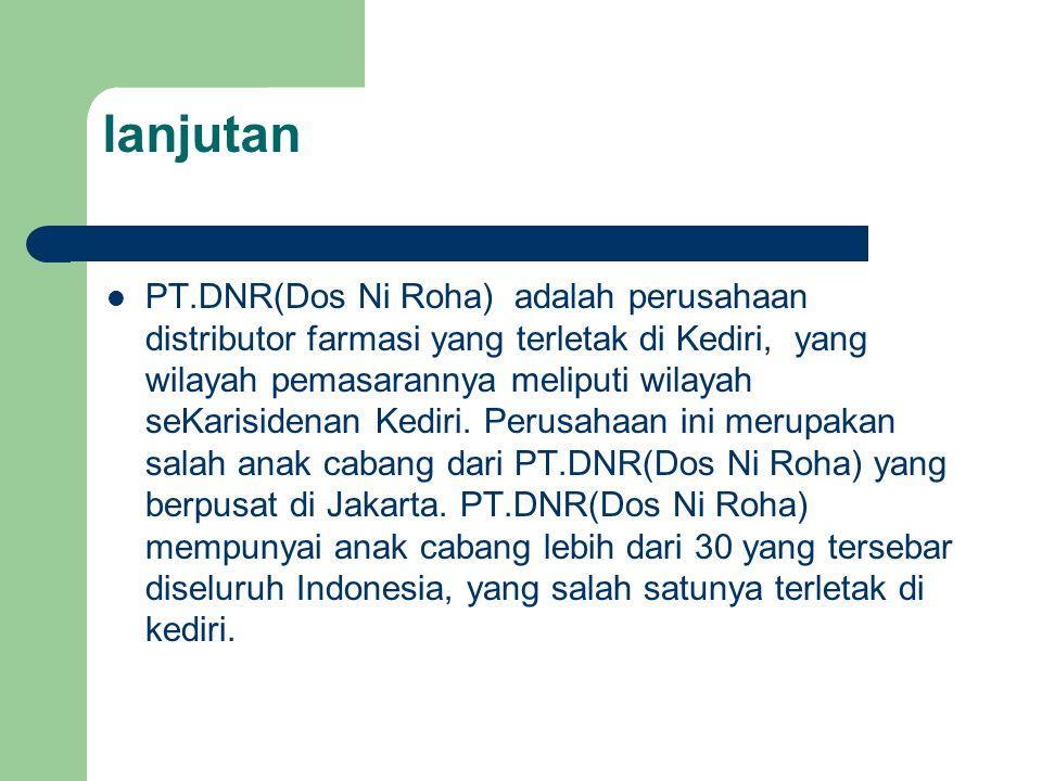 lanjutan PT.DNR(Dos Ni Roha) adalah perusahaan distributor farmasi yang terletak di Kediri, yang wilayah pemasarannya meliputi wilayah seKarisidenan Kediri.