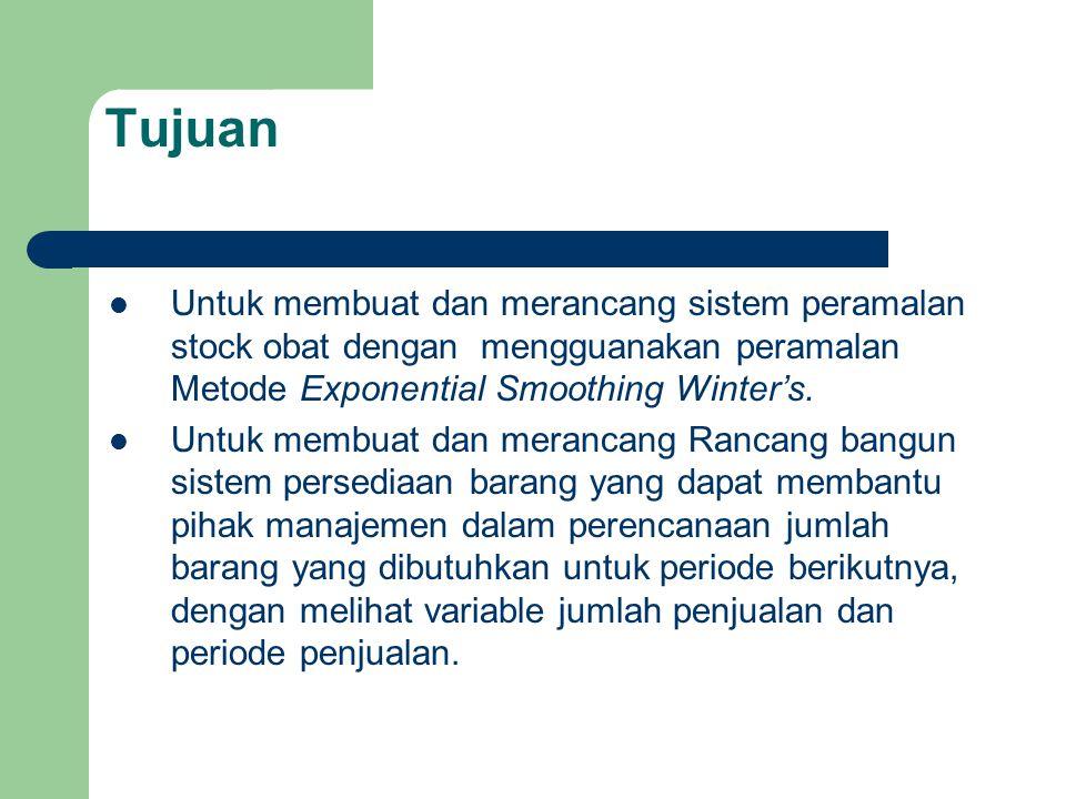 Tujuan Untuk membuat dan merancang sistem peramalan stock obat dengan mengguanakan peramalan Metode Exponential Smoothing Winter's. Untuk membuat dan