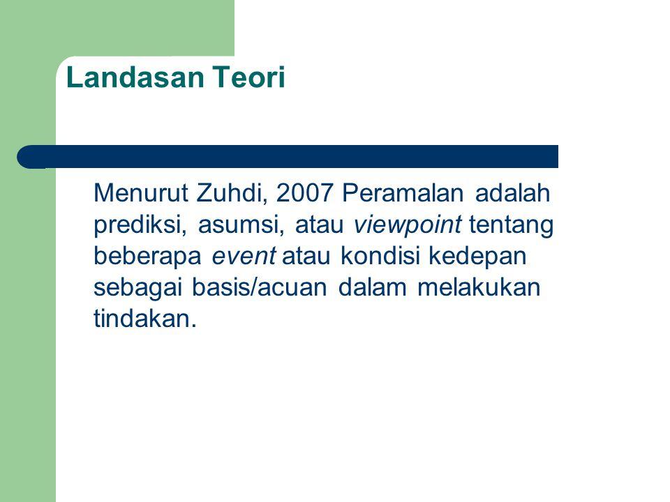 Landasan Teori Menurut Zuhdi, 2007 Peramalan adalah prediksi, asumsi, atau viewpoint tentang beberapa event atau kondisi kedepan sebagai basis/acuan dalam melakukan tindakan.