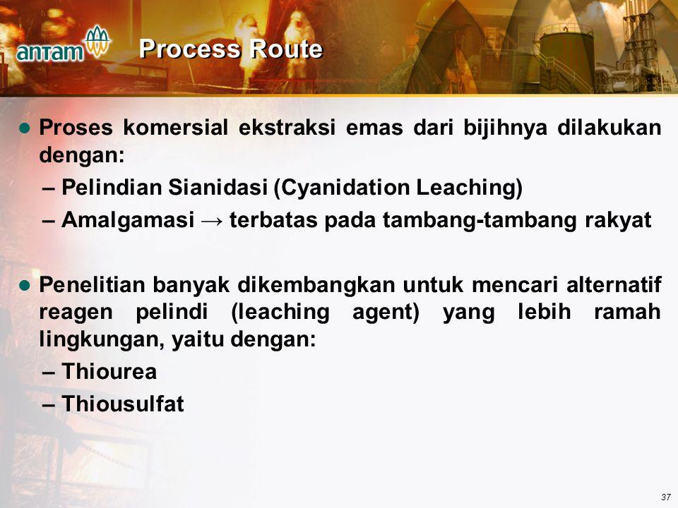 37 Process Route Proses komersial ekstraksi emas dari bijihnya dilakukan dengan: – Pelindian Sianidasi (Cyanidation Leaching) – Amalgamasi → terbatas