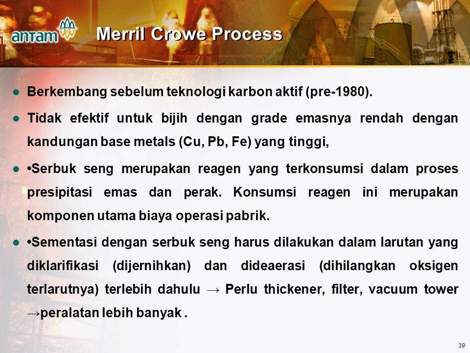 39 Merril Crowe Process Berkembang sebelum teknologi karbon aktif (pre-1980). Tidak efektif untuk bijih dengan grade emasnya rendah dengan kandungan b