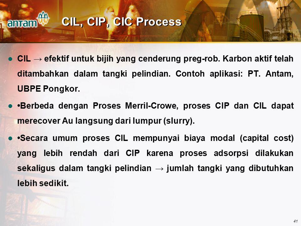 41 CIL, CIP, CIC Process CIL → efektif untuk bijih yang cenderung preg-rob. Karbon aktif telah ditambahkan dalam tangki pelindian. Contoh aplikasi: PT