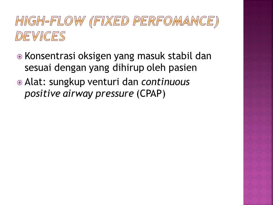  Konsentrasi oksigen yang masuk stabil dan sesuai dengan yang dihirup oleh pasien  Alat: sungkup venturi dan continuous positive airway pressure (CP