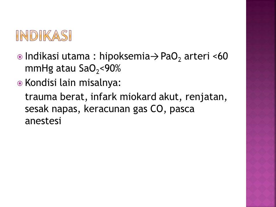  Indikasi utama : hipoksemia → PaO 2 arteri <60 mmHg atau SaO 2 <90%  Kondisi lain misalnya: trauma berat, infark miokard akut, renjatan, sesak napa