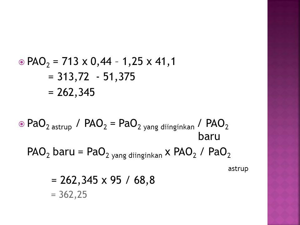  PAO 2 = 713 x 0,44 – 1,25 x 41,1 = 313,72 - 51,375 = 262,345  PaO 2 astrup / PAO 2 = PaO 2 yang diinginkan / PAO 2 baru PAO 2 baru = PaO 2 yang dii